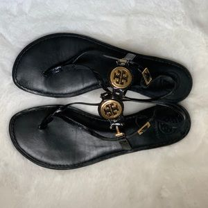 Tory Burch Black & Gold Patent Leather Sandals